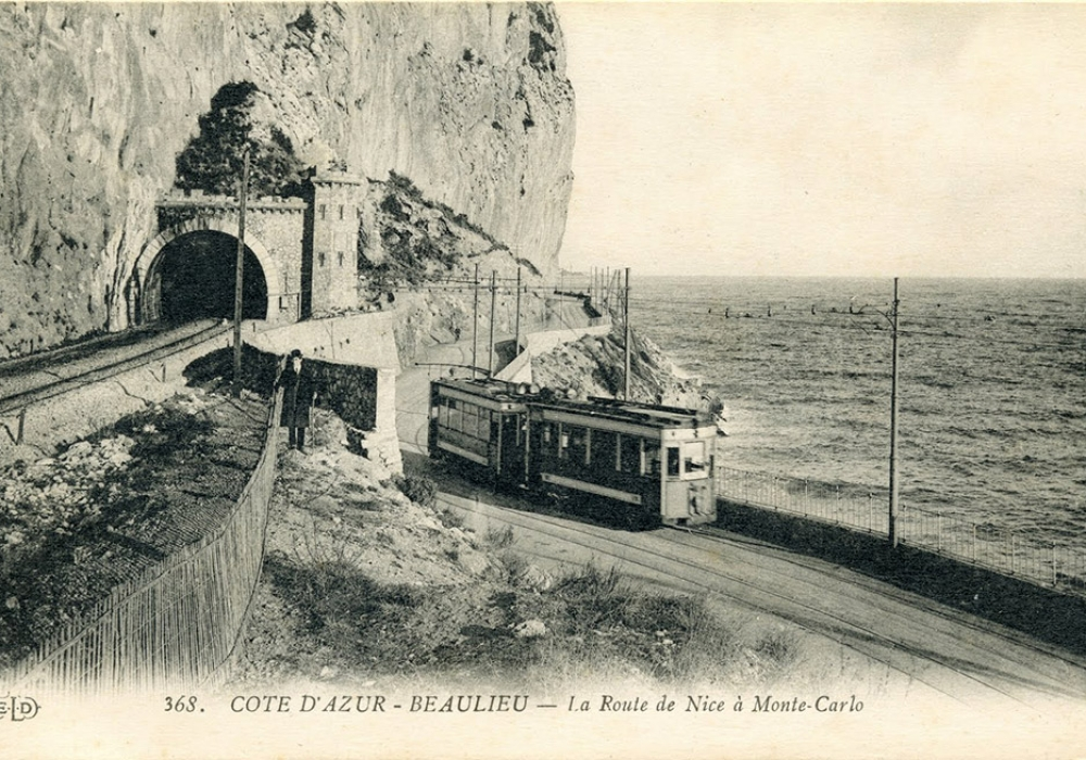 beaulieu train tracks tramway road from nice to monte carlo. Black Bedroom Furniture Sets. Home Design Ideas