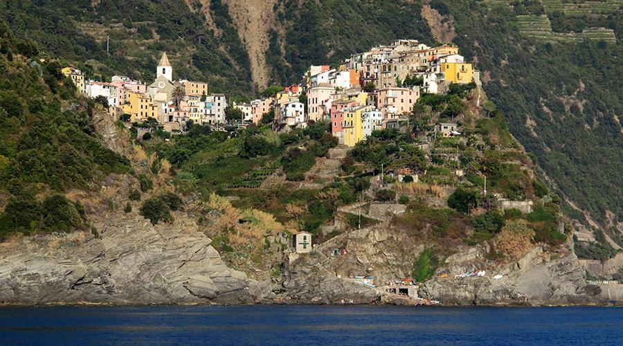 Corniglia, Cinque Terre, view from the sea