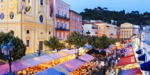 Nice, Cours Saleya Market at Evening