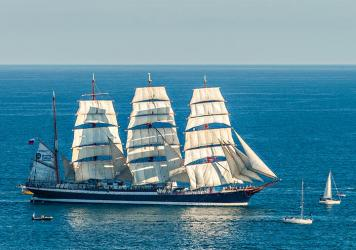 Russian four-masted sailboat Sedov at the port of Monaco
